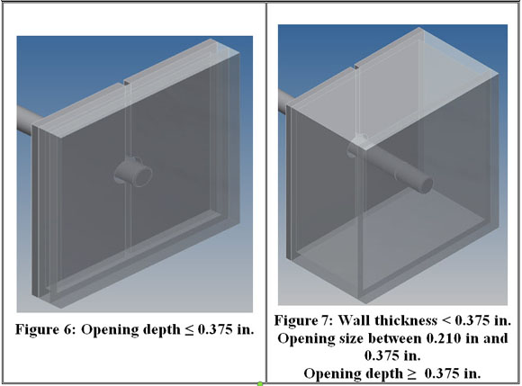 Illustrations showing opening depth and wall thickness