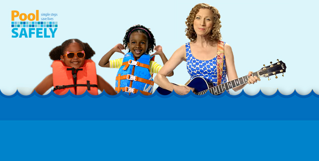 Two girls  in life jackets and woman with guitar.