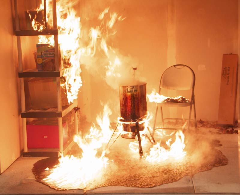 The fryer fire sets the garage on fire. This happens in seconds. Don't use a turkey fryer in a garage or on a porch.