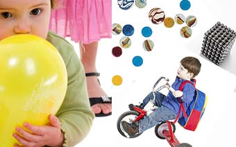 toddler with a balloon, boy riding a tricycle, toy balls, high-powered magnets