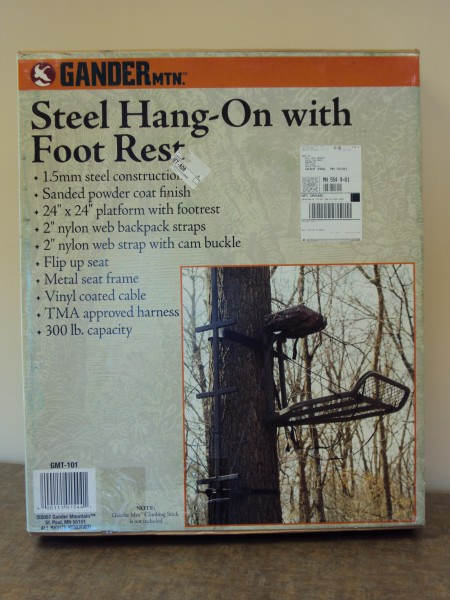 Recalled steel hang-on with foot rest Treestand box