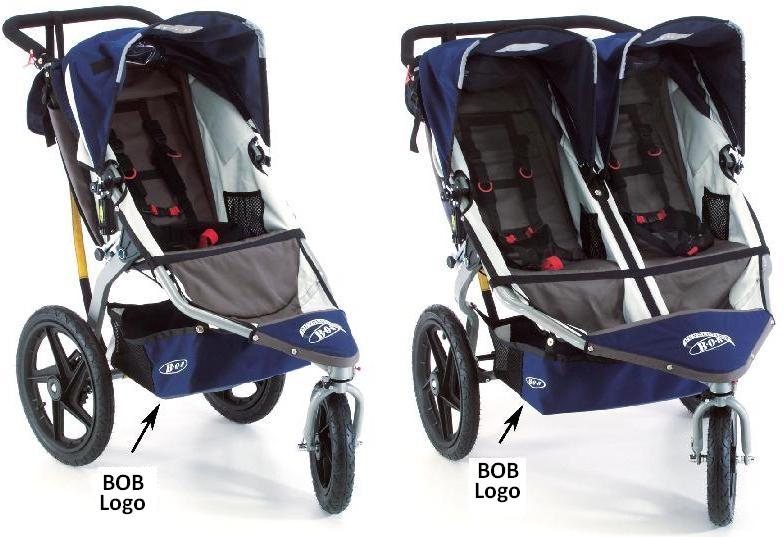Picture of Recalled Jogging Strollers showing location of BOB logo