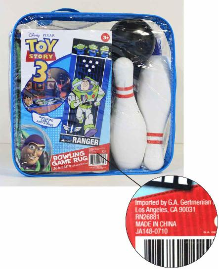 Picture of Recalled Toy Story 3 Bowling Game showing label detail