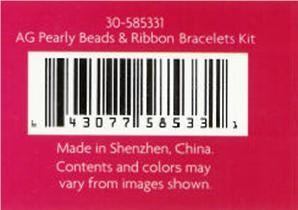 Detail of recalled bracelet kit package back showing SKU 30-585331 and UPC 643077585331