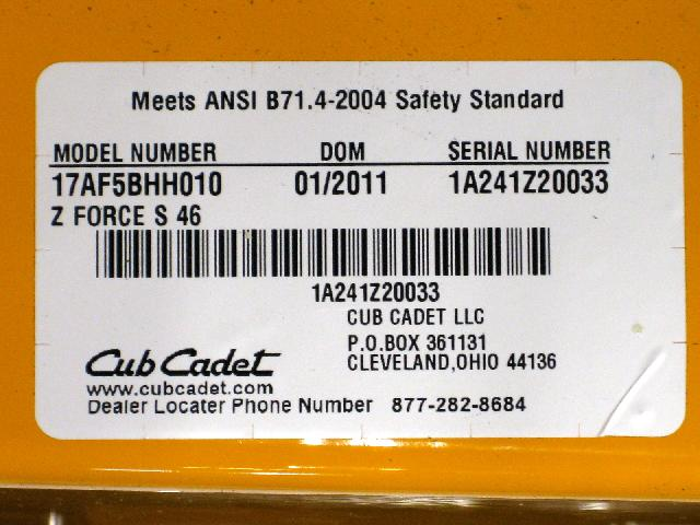 Picture of Label on Recalled Riding Lawn Mower