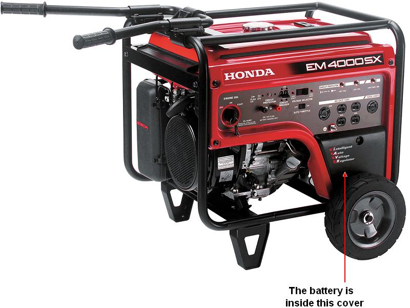 Picture of recalled battery location in portable generator