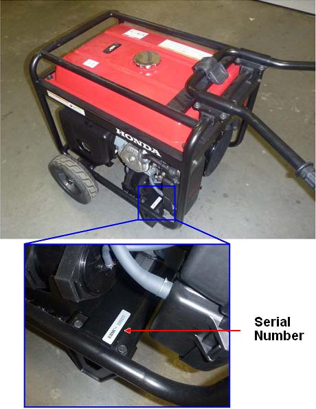 Location of serial number in portable generator