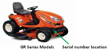 Picture of recalled T and ZG Riding Mower Series Models showing location of serial number