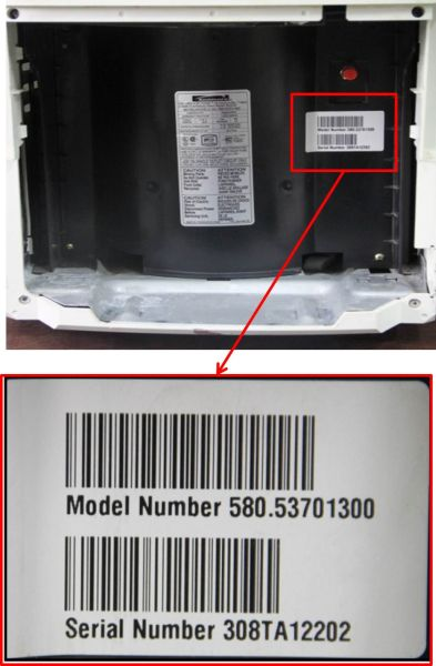 Location of model number for model numbers\n580.53701300 and 580.53509300
