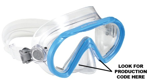 Recalled Santa Cruz Jr. youth snorkeling masks have no production code on the edge of frame