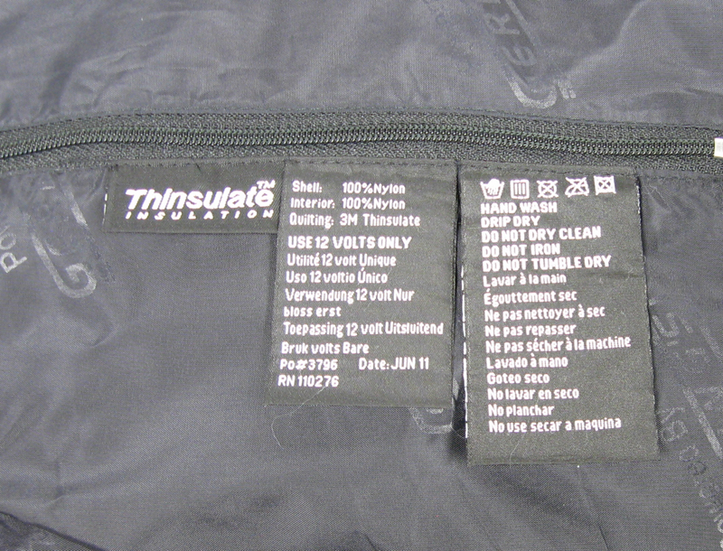 Label on Gerbing's jacket liner