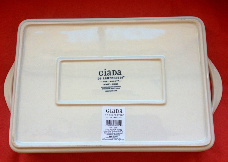 Giada De Laurentiis Ceramic 9x13 Inch Lasagna Pan bottom view