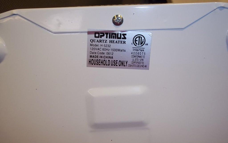 The Optimus Tower Quartz Heater model number is on the bottom of the unit.