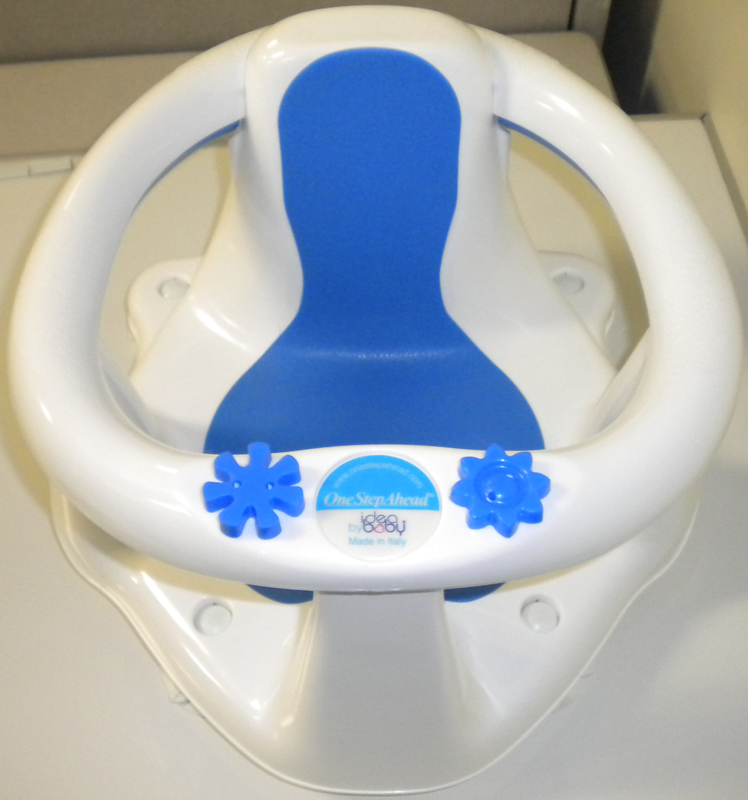 The One Step Ahead Idea Baby bath seat is white and blue.