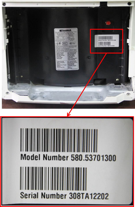 Location of model number for model numbers 580.53701300 and 580.53509300