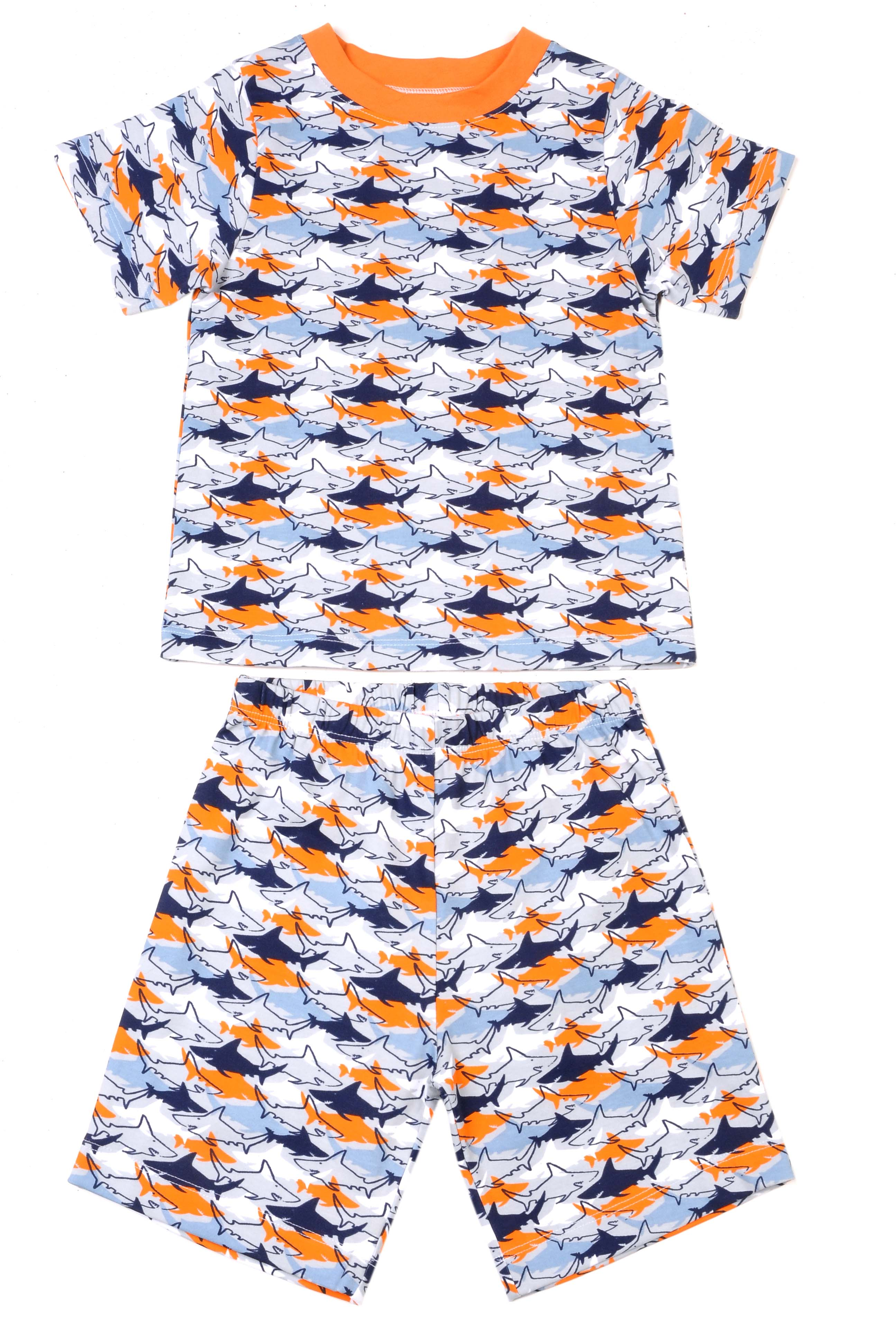 Klever Kids Short-Sleeved Allover Shark Pajama Set