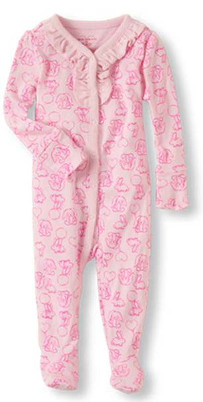Pink bunny ruffled footies