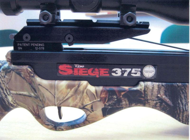 """The Siege"" and the model number are printed on the crossbows"