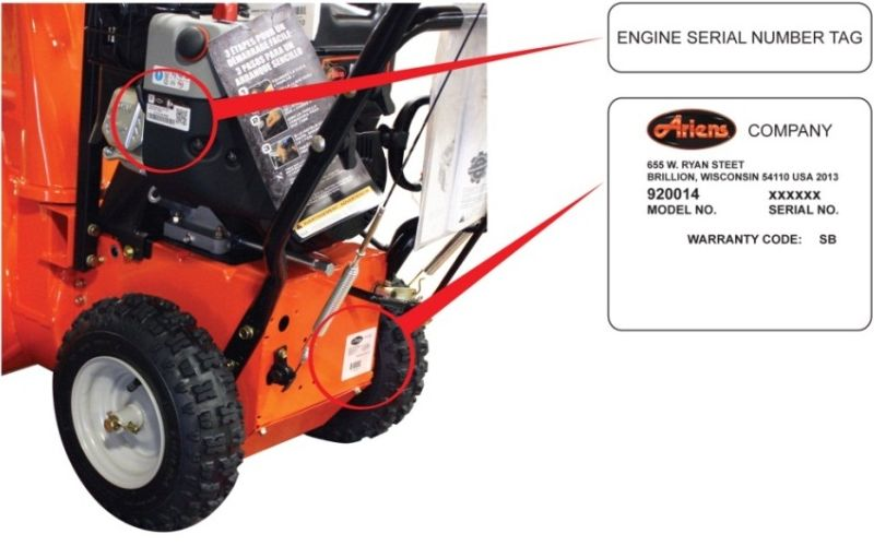 Ariens Snow-Thro 24 inch with labels