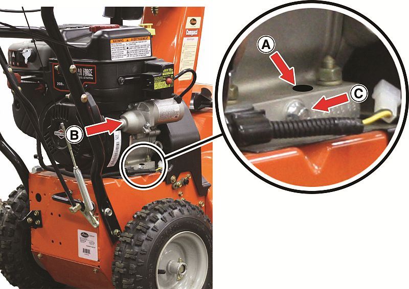 Engines with a circular black marker dot located on the right side of the engine base (A) below the electric starter (B) and just above the oil drain plug (C) have already been inspected and are not part of this recall.