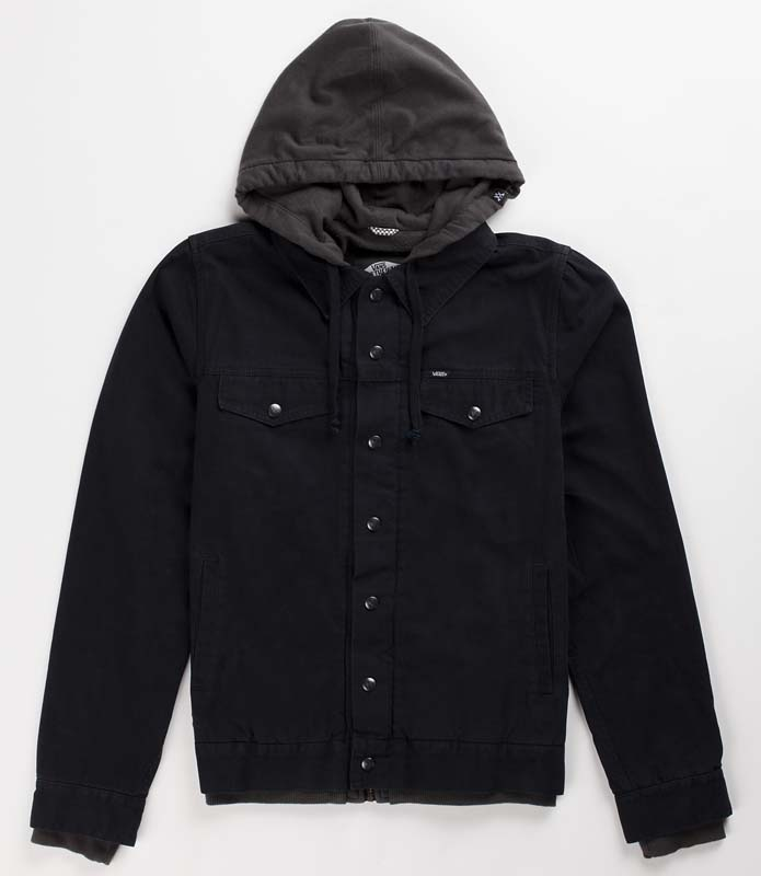 Vans Boys Hooded Jacket – black canvas