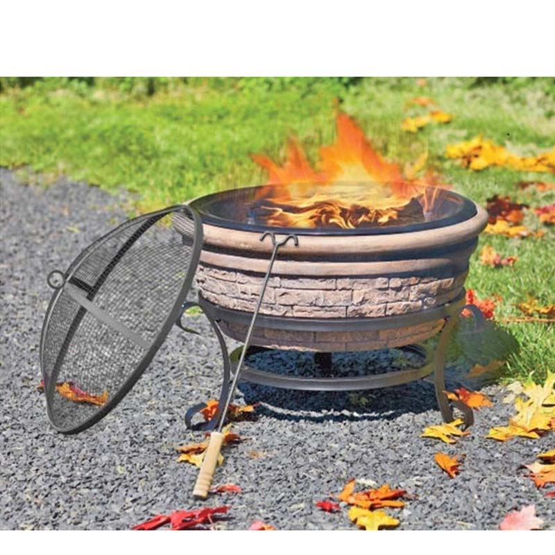 Shown in the photo is the clay bowl, a black metal stand, a black metal bowl that sits inside the clay bowl, a screened, domed lid that sits on top of the bowl, and a fire poker.