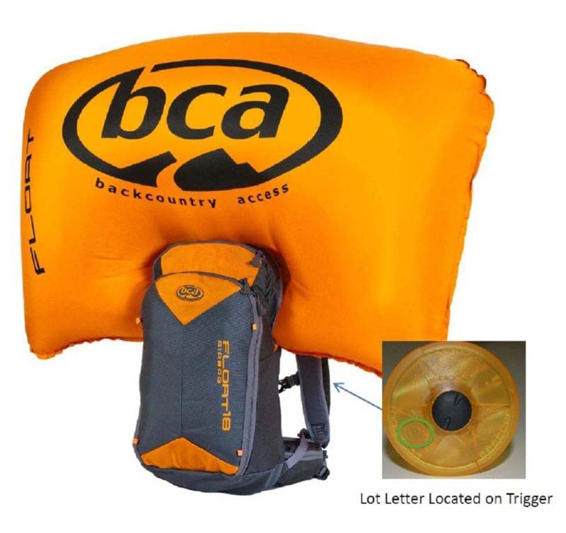 BCA avalanche airbag Float 18 with lot letter location