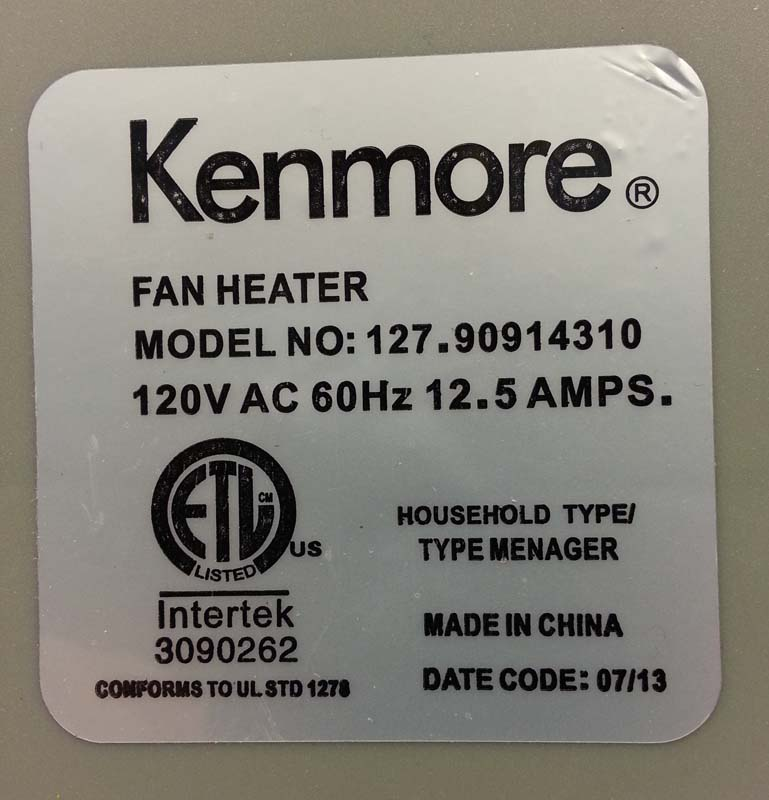 Label on fan heater