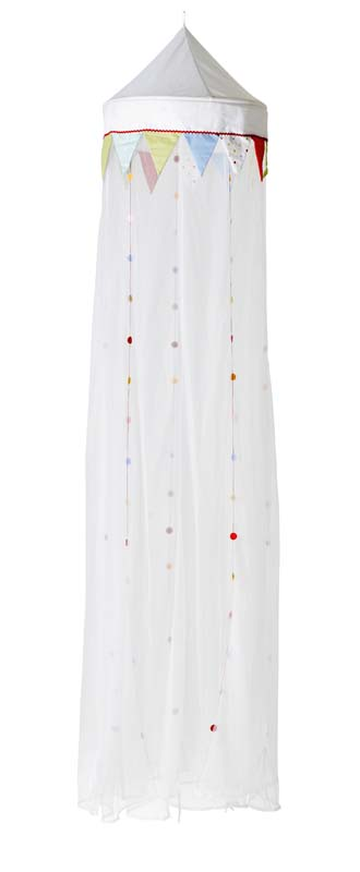 White pointed canopy top with multicolored dots and upside-down triangles sewn on the white mesh fabric