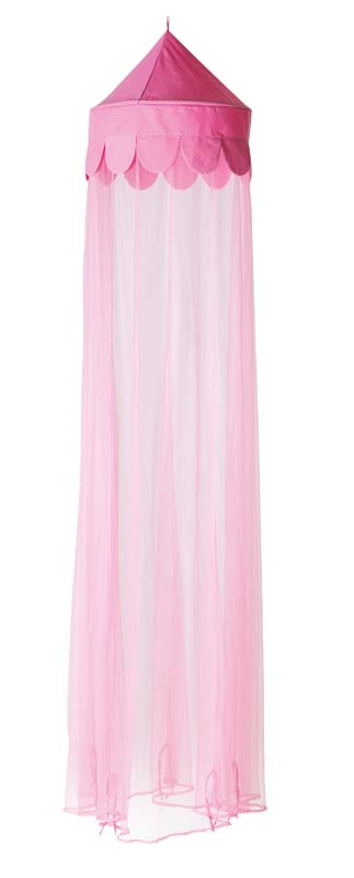 Pink pointed canopy top with pink mesh fabric