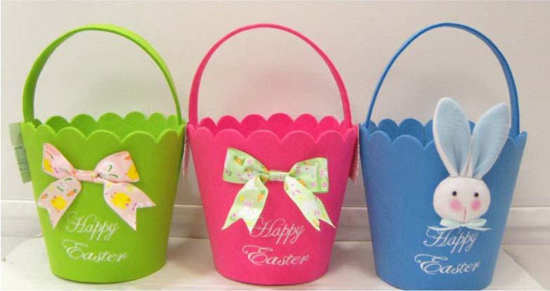 Blue, Bright Green and Bright Pink Easter Basket