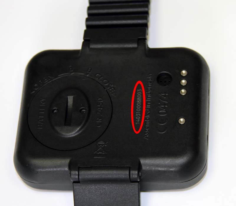 SCAUPRO Aladin2 dive computer back with serial number location