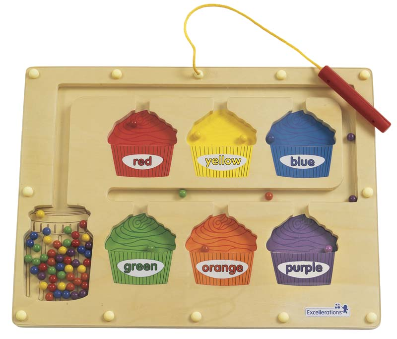 Recalled Excellerations™ magnetic color sorting boards with cupcake cut-outs