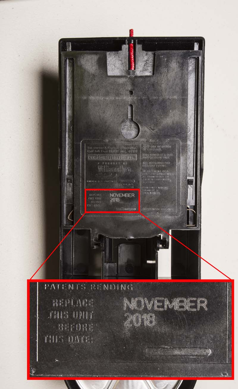 "StoveTop FireStop Microhood ""Replace Before"" date location"