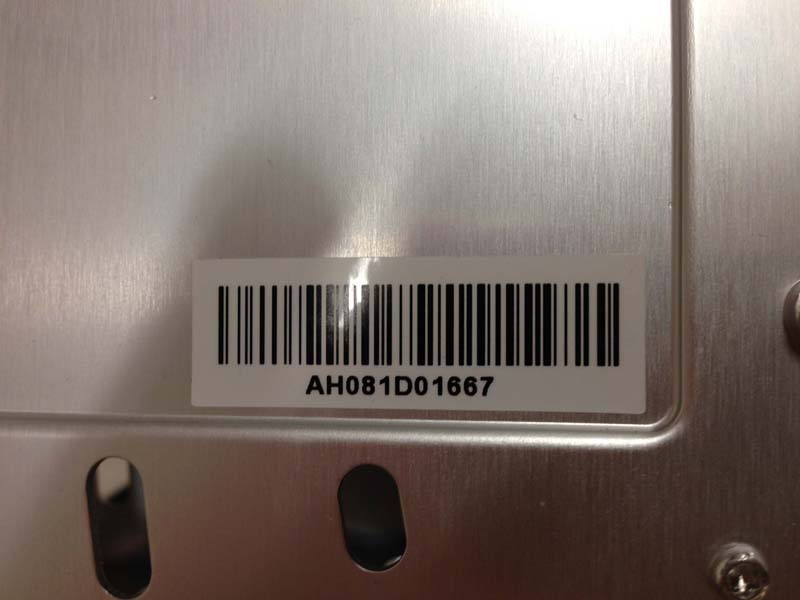 Label identifying manufacturing lot number