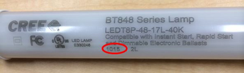 Date Code:  Commercial LED T8 Lamp