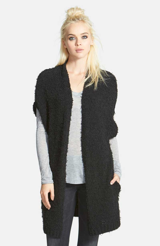 Nordstrom Leith Brand Open Vest Sweater in Black
