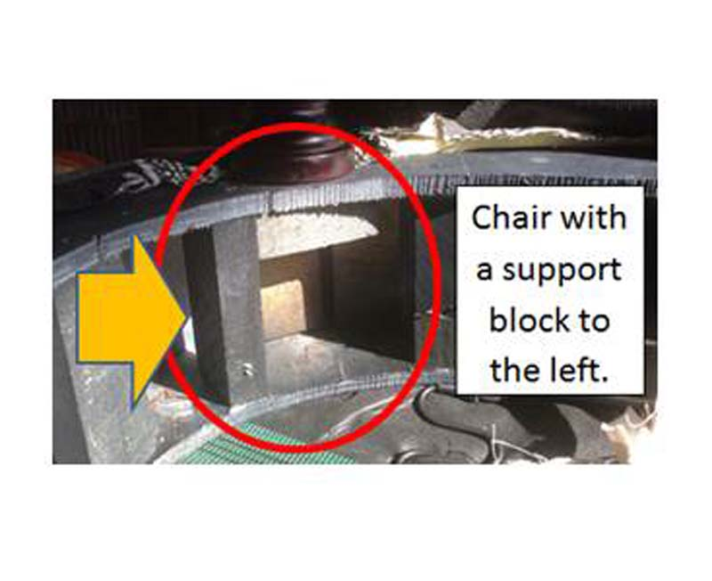 Chair with a support block to the left.