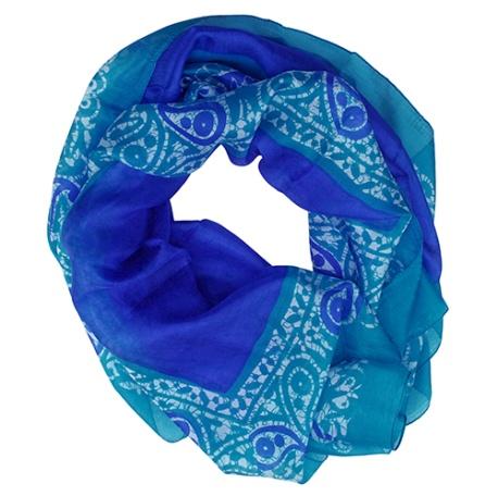 Blue Leopard Print Scarf / Wrap - Spring Summer Scarves for Women & Girls