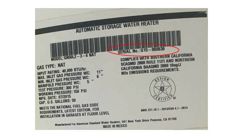 Water Heating Technologies Gas Water Heaters Serial Number