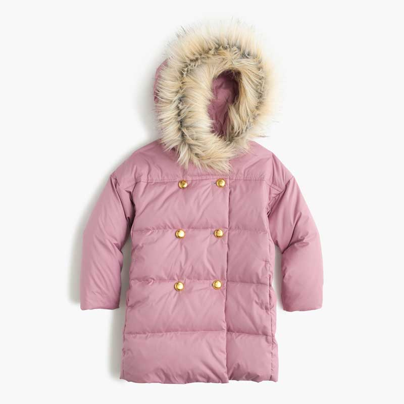 J. Crew Girls Puffer Coat in sun washed peony (pink)