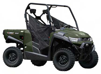 KYMCO utility vehicle model UXV 450i Turf (green and red)