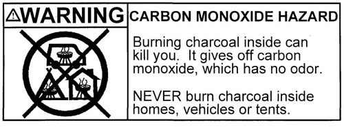 Charcoal Warning Label