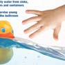 child's hand grabbing for rubber duck in water