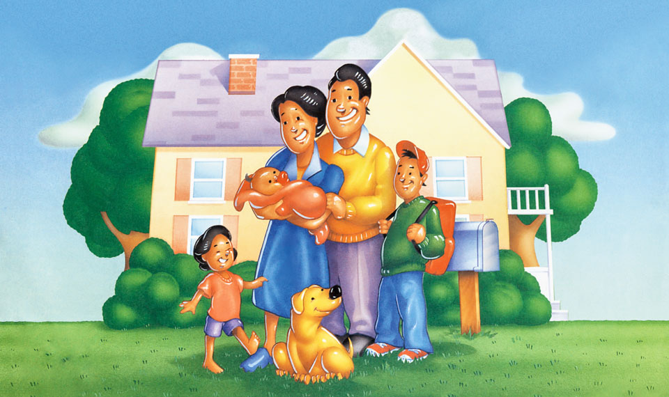 illustration of a family in front of a house.