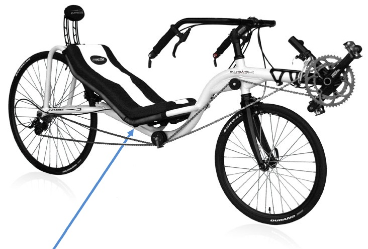 Picture of recalled Catbike Musashi Recumbent Bicycle showing serial number location