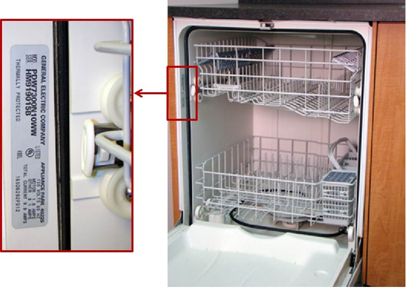 Recalled dishwasher - Picture showing location of model and serial numbers