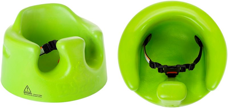 Picture: side view and top view of Bumbo seat with restraint belt repair