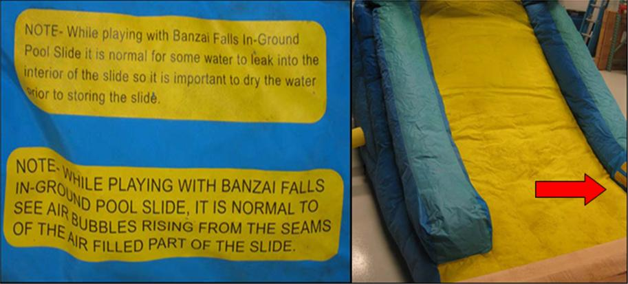 Detail of label and its location on recalled inflatable pool slide