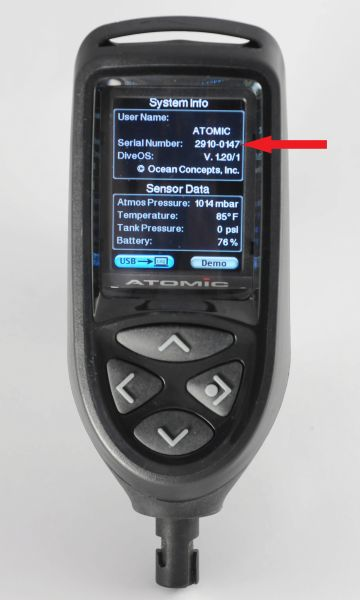 Picture of recalled dive computer indicating the serial number location